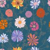 Bezszwowy błękita wzór z dalia kwiatami ilustracji