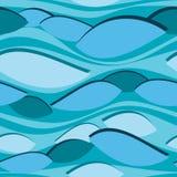Bezszwowy błękita wzór z niezwykłymi fala Zdjęcie Royalty Free
