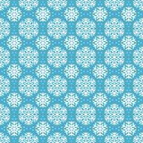 Bezszwowy błękita wzór z płatkami śniegu. Obrazy Royalty Free