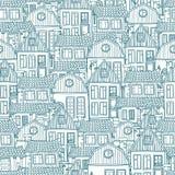 Bezszwowy błękita wzór z pociągany ręcznie domami Ilustracji