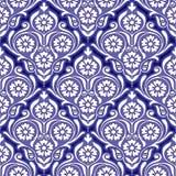 Bezszwowy błękitny kwiecisty wzór dla ceramicznego projekta Zdjęcia Stock