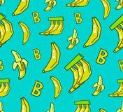 Bezszwowy banana wzór na błękitnym tle Zdjęcia Royalty Free