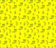 Bezszwowy banana wzór na yelow tle Obrazy Royalty Free