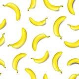 Bezszwowy banana wzór odizolowywający na białym tle Zdjęcia Stock