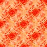Bezszwowy barwidło wzór czerwień i pomarańczowy kolor na białym jedwabiu Obrazy Stock