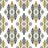Bezszwowy barwiony etniczny projekt na białym tle dla tekstylnych druków ilustracja wektor