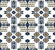 Bezszwowy barwiony etniczny projekt na białym tle dla tekstylnych druków ilustracji