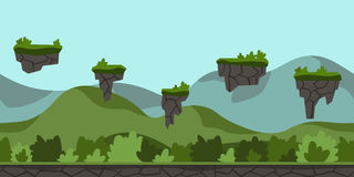 Bezszwowy bez końca kreskówki tło dla arkady gry Zielony górkowaty krajobraz z krzakami i latanie wyspami wektor ilustracji