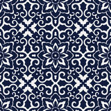 Bezszwowy Błękitny Japoński tło krzyża spirali ramy kwiat Zdjęcia Royalty Free