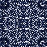 Bezszwowy Błękitny Japoński tło spirali krzywy fan krzyż Fotografia Stock