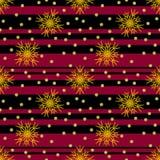 Bezszwowy boże narodzenie wzór z czerwienią i czarnym paskował tła i koloru żółtego płatek śniegu ilustracja wektor