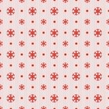 Bezszwowy boże narodzenie wzór z czerwonymi płatkami śniegu kropkuje i lampasy Obrazy Royalty Free