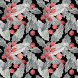 Bezszwowy boże narodzenie wzór z holly, liśćmi i jagodami, royalty ilustracja