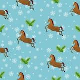 Bezszwowy boże narodzenie wzór z koniami Zdjęcie Royalty Free