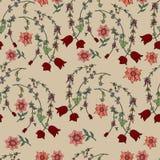 Bezszwowy brązu wzór z doodle kwiatami Obrazy Royalty Free