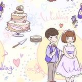 Bezszwowy bridal wzór z ślubnym tortem i nowożeńcy Zdjęcie Stock