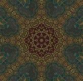 Bezszwowy centrowany gwiazdowy wzór złoty i ciemnozielony Fotografia Royalty Free