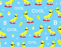 Bezszwowy chłodno bananowy charakter z szkło wzorem Zdjęcie Stock