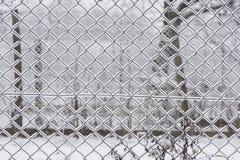 Bezszwowy Chainlink ogrodzenie - zima Zdjęcie Royalty Free