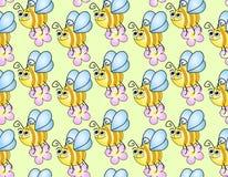 Bezszwowy children tło z śmiesznymi pszczołami Obrazy Royalty Free