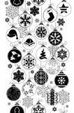 Bezszwowy czarno biały wzór z bożymi narodzeniami Zdjęcia Royalty Free