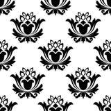 Bezszwowy czarny i biały kwiecisty wzór ilustracji