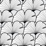 Bezszwowy czarny i biały miłorzębu liścia wzór Wektorowy Illustratio Zdjęcia Stock