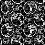 Bezszwowy czarny i biały róża wzór royalty ilustracja