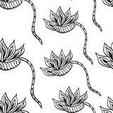 Bezszwowy czarny i biały wzór z kwiatami Fotografia Royalty Free