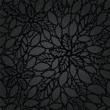 Bezszwowy czerń opuszcza i kwiaty zasznurowywają tapeta wzór Zdjęcie Royalty Free