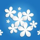 Bezszwowy 3d papierowego kwiatu tła błękitny wzór Fotografia Stock