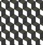 Bezszwowy 3d sześcianu wzór Abstrakcjonistyczny Futurystyczny Opakunkowego papieru tło Wektorowa stały bywalec 3d tekstura Nowoży Fotografia Stock