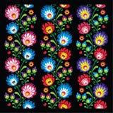 Bezszwowy długi Polski ludowej sztuki wzór - wzory lowickie, wycinanka Fotografia Royalty Free