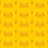 Bezszwowy dandelions wzór na żółtym tle ilustracji