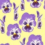 Bezszwowy dekoracyjny elegancki wzór z na małą skalę ślicznym kwiatem altówka Rocznik akwareli stylu antykwarski druk dla tkaniny ilustracji
