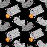 Bezszwowy dekoracyjny tło Szczęśliwy Halloween Śmieszny ducha Brushwork Ręki kluć się ilustracja wektor