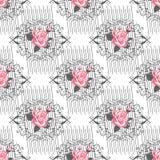 Bezszwowy delikatny wzór bukiety kwiaty ogrodu letni kwiat Kwiecisty bezszwowy tło dla tekstylnych lub książkowych pokryw, produk Obraz Stock