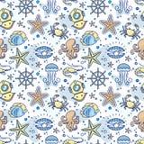 Bezszwowy denny dziecko wzór z kierownicą, krab, perła, rozgwiazda, garnela, akwalung royalty ilustracja