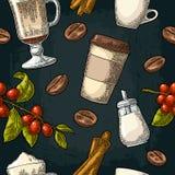 Bezszwowy deseniowego szkła latte, cukier, fasole, gałąź z liściem i jagoda, ilustracji