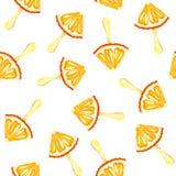 Bezszwowy deseniowy akwareli tło z wizerunkiem pomarańcze, mandarynka, lody Soczysta braja i ziarna dla druku ilustracja wektor