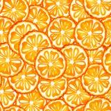 Bezszwowy deseniowy akwareli tło z wizerunkiem pomarańcze, mandarynka Soczysta braja i ziarna dla druku projekta ilustracja wektor