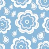 Bezszwowy deseniowy błękit z kwiatami i liśćmi Zdjęcia Royalty Free
