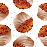 Bezszwowy deseniowy babeczki słodka bułeczka, babeczki backgroun Fotografia Royalty Free