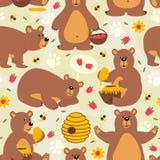 Bezszwowy deseniowy brown niedźwiedź Obraz Stock