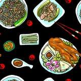 Bezszwowy deseniowy chiński jedzenie ilustracji