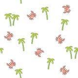 Bezszwowy deseniowy drzewko palmowe i krab ilustracja wektor