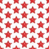 Bezszwowy Deseniowy Geometryczny Czerwony gwiazdy błyskotliwości lśnienie royalty ilustracja