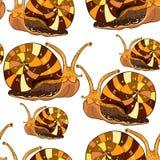 Bezszwowy deseniowy insekta ślimaczka gastropod mollusk Wektorowy illustra Zdjęcia Royalty Free
