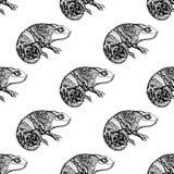 Bezszwowy deseniowy kameleon royalty ilustracja