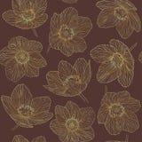 Bezszwowy deseniowy kontur kwitnie dryas, złocistej gradient linii vinous tło Zdjęcia Stock